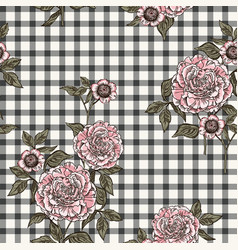 floral seamless pattern with plaid background vector image