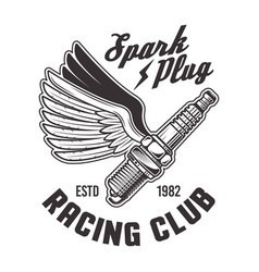 flying spark plug with wings racing emblem vector image