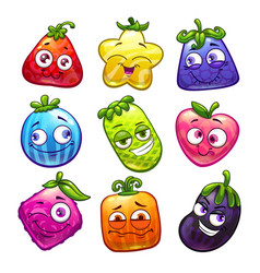 funny cartoon colorful fantasy fruits set plant vector image