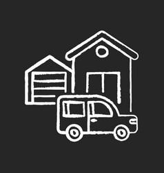 garage building chalk white icon on black vector image