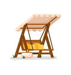 garden swing isolated outside wooden swing bench vector image