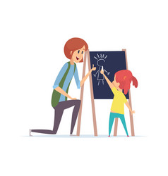 Girl drawing chalk little baby learning draw vector