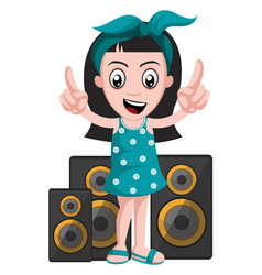 girl with speakers on white background vector image