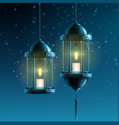 glowing fanous or vintage fanoos hanging lantern vector image