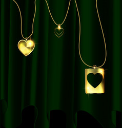 Green drape and golden pendants of heart vector