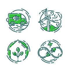 Green ecology energy conservation icons and vector
