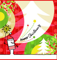 Hand drawn cartoon greeting card - christmas vector