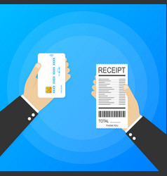 Hand holding receipt and hand holding credit card vector