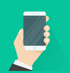 Hand holding smartphone or mobile phone vector