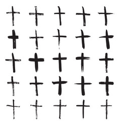 Hand painted christian crosses vector