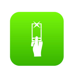 Hand photographs on smartphone icon digital green vector