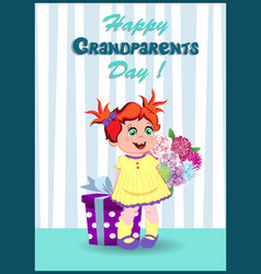 happy grandparents day greeting card with little vector image