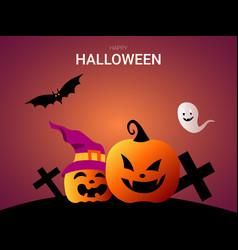 happy halloween with fun and creepy pumpkin vector image