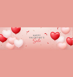 happy valentine sale red pink white balloon heart vector image