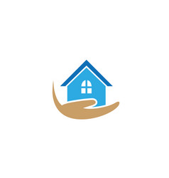 house hand hold home family caregiver logo vector image