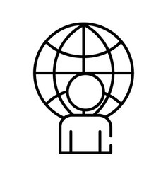 Human figure avatar with sphere planet line style vector