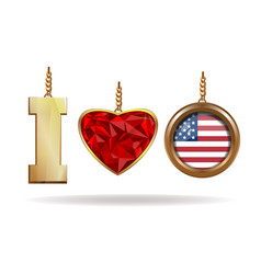 i love usa patriotic jewelry i love america vector image vector image