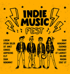 Indie music festival poster or flyer template vector