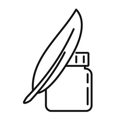 Ink feather jar icon outline style vector