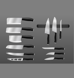 kitchen cutlery knifes and cutting kitchenware vector image