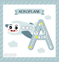 Letter a uppercase tracing aeroplane vector