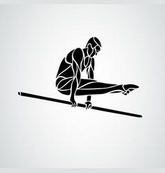 man s artistic gymnastics silhouette on white vector image