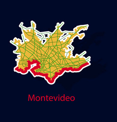 Montevideo sticker map outline version ready for vector
