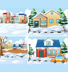 Neighborhood scnes with houses in winter vector