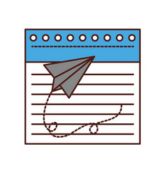 notebook sheet with paper airplane vector image