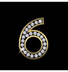 Number six sign vector