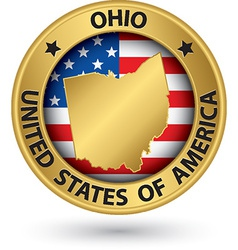 Ohio state gold label with state map vector image