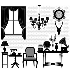 old grandfather room antique retro living hall vector image