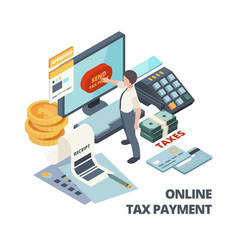 Online payment invoice tax bills accounting vector