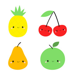 pineapple pear apple cherry icon set yellow color vector image