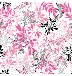 Pink black tropical leaves summer seamless vector
