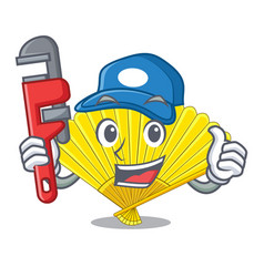 Plumber folding fan isolated with the cartoon vector