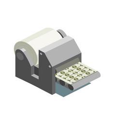 Printing machine prints money isometric vector