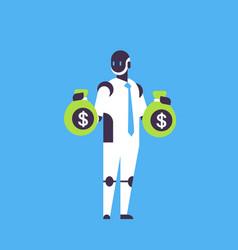 robot financial dollar consultant holding money vector image