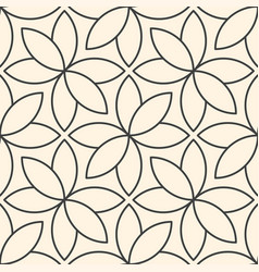 seamless linear flower pattern on beige background vector image