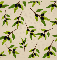 seamless pattern olive on beige paper olive branch vector image