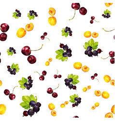 Seamless pattern with summer berries apricot vector