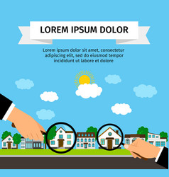 Search house with loupe banner concept vector