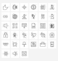 Set 64 simple line icons for web and print vector