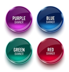 Set of glass purple blue red and green banners vector image