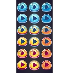 set pressing buttons for game in style marmalade vector image