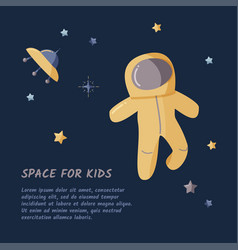 Single astronaut and starry sky in a open space vector