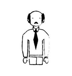 skecth man bald sad face vector image