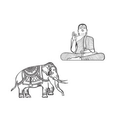 Sketch buddha statue decorated elephant vector