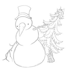 snowman spruce vector image