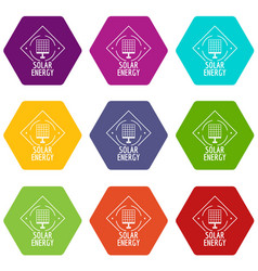 solar energy icons set 9 vector image